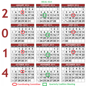 2014 HEAL-SLO Meeting Calendar