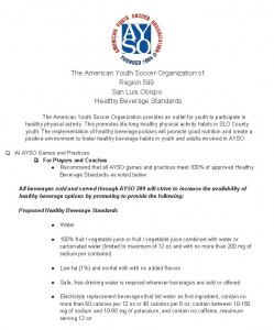 AYSO 599 Healthy Beverage Standards